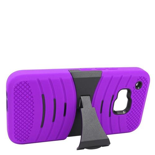 Insten Wave Hybrid Stand Rubber Silicone/PC Case For HTC One M9, Purple/Black
