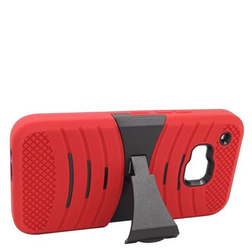 Insten Wave Hybrid Stand Rubber Silicone/PC Case For HTC One M9, Red/Black