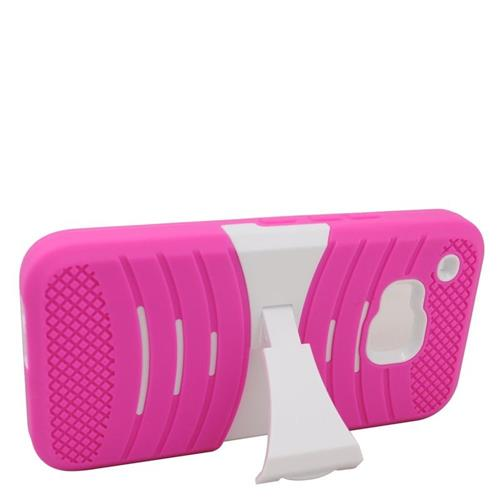 Insten Wave Hybrid Stand Rubber Silicone/PC Case For HTC One M9, Pink/White