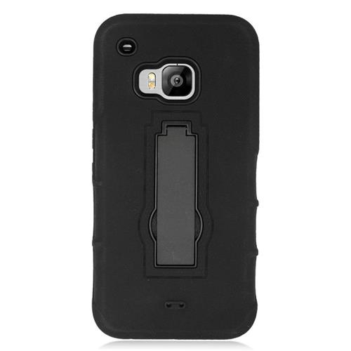 Insten Hybrid Stand Rubber Silicone/PC Case For HTC One M9, Black