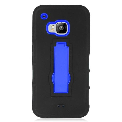 Insten Hybrid Stand Rubber Silicone/PC Case For HTC One M9, Black/Blue