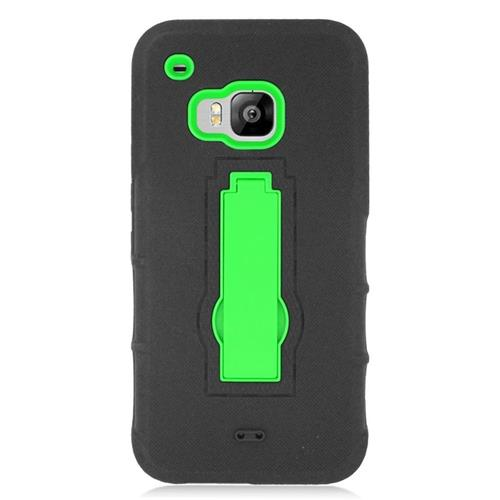 Insten Hybrid Stand Rubber Silicone/PC Case For HTC One M9, Black/Green