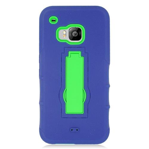 Insten Hybrid Stand Rubber Silicone/PC Case For HTC One M9, Blue/Green