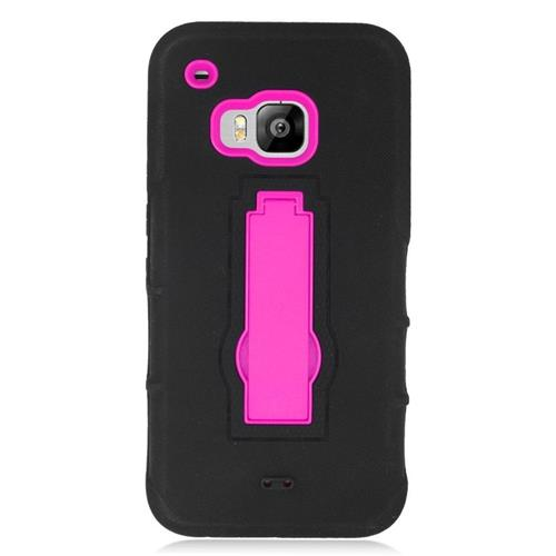 Insten Hybrid Stand Rubber Silicone/PC Case For HTC One M9, Black/Hot Pink