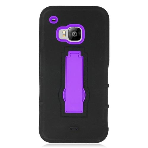 Insten Hybrid Stand Rubber Silicone/PC Case For HTC One M9, Black/Purple