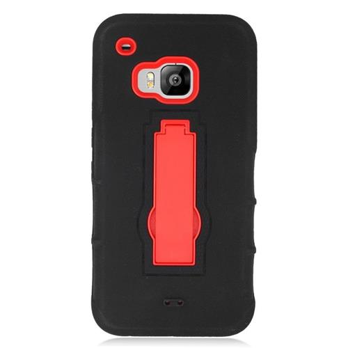 Insten Hybrid Stand Rubber Silicone/PC Case For HTC One M9, Black/Red