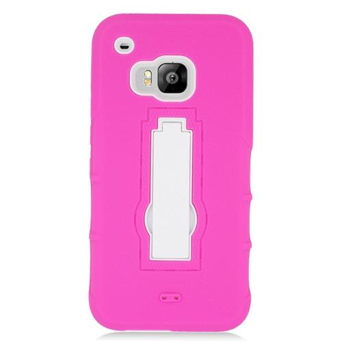Insten Hybrid Stand Rubber Silicone/PC Case For HTC One M9, Hot Pink/White