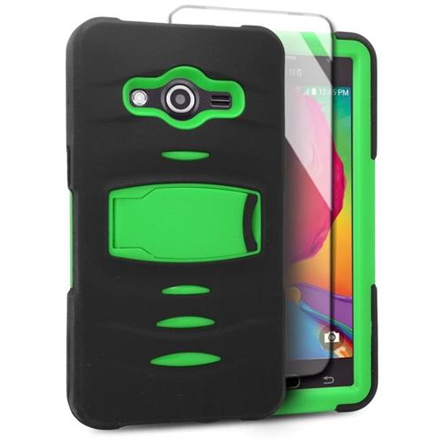Insten Hybrid Stand Rubber Silicone/PC Case w/Screen Protector For Samsung Galaxy Avant, Black/Green