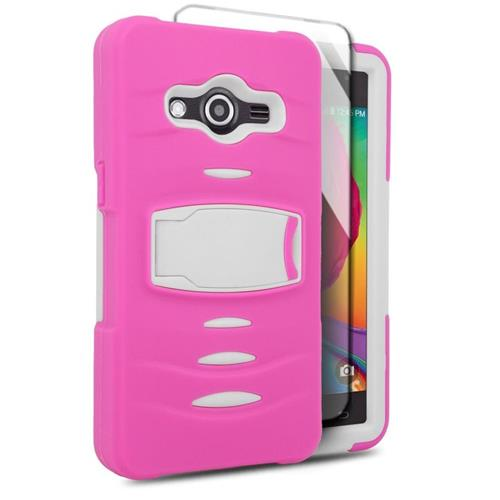 Insten Hybrid Stand Silicone/PC Case w/Screen Protector For Samsung Galaxy Avant, Hot Pink/White