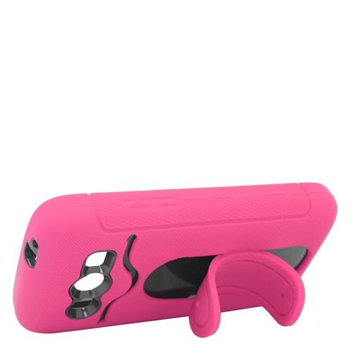 Insten Hybrid Stand Rubber Silicone/PC ID/Card Slot Case For Samsung Galaxy Avant, Hot Pink/Black