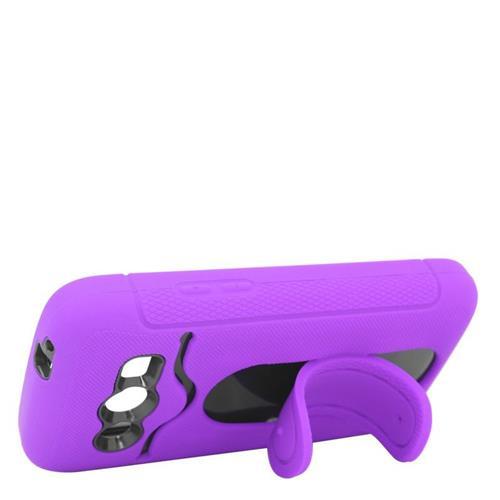 Insten Hybrid Stand Rubber Silicone/PC ID/Card Slot Case For Samsung Galaxy Avant, Purple/Black