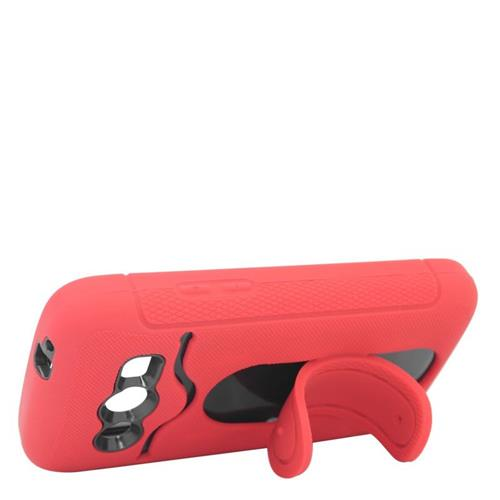Insten Hybrid Stand Rubber Silicone/PC ID/Card Slot Case For Samsung Galaxy Avant, Red/Black