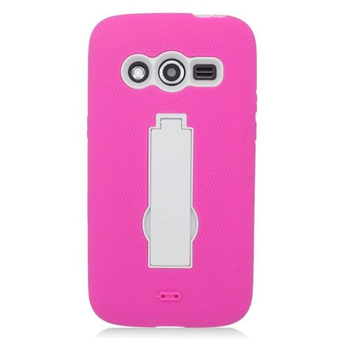 Insten Hybrid Stand Rubber Silicone/PC Case For Samsung Galaxy Avant, Hot Pink/White