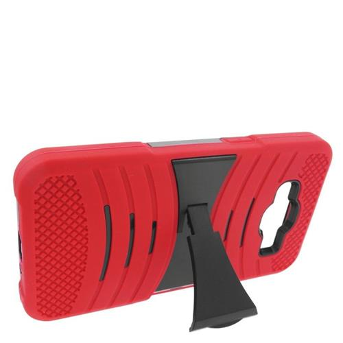 Insten Wave Hybrid Stand Rubber Silicone/PC Case For Samsung Galaxy Grand Prime, Red/Black