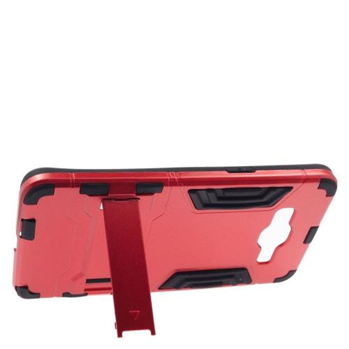 Insten Hybrid Stand Rubberized Hard PC/Silicone Case For Samsung Galaxy Grand Prime, Red/Black