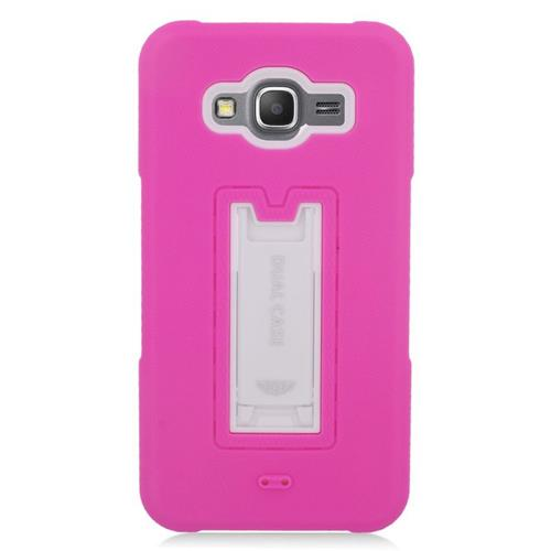 Insten Hybrid Stand Rubber Silicone/PC Case For Samsung Galaxy Grand Prime, Hot Pink/White