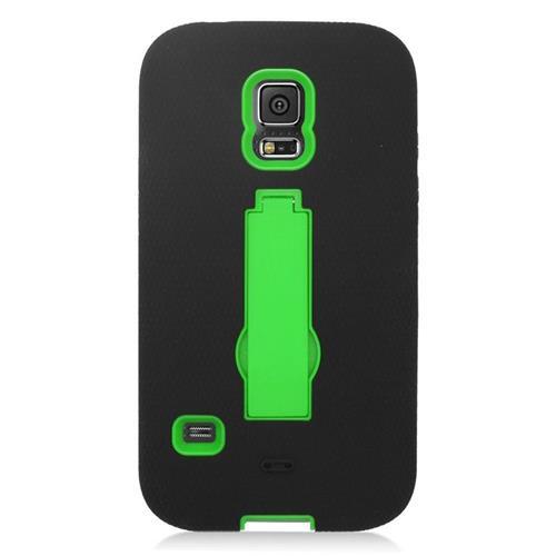 Insten Hybrid Stand Silicone/PC Case For Samsung Galaxy S5 Sport SM-G860P (Sprint), Black/Green