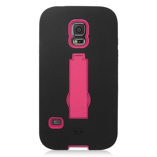Insten Hybrid Stand Silicone/PC Case For Samsung Galaxy S5 Sport SM-G860P (Sprint), Black/Hot Pink