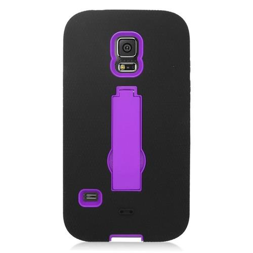 Insten Hybrid Stand Silicone/PC Case For Samsung Galaxy S5 Sport SM-G860P (Sprint), Black/Purple