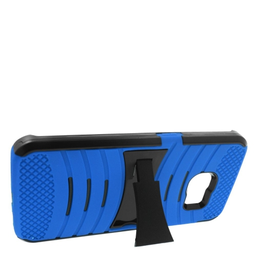 Insten Wave Hybrid Stand Rubber Silicone/PC Case For Samsung Galaxy S6 Edge, Blue/Black