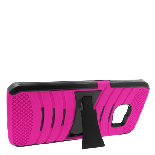 Insten Wave Hybrid Stand Rubber Silicone/PC Case For Samsung Galaxy S6 Edge, Hot Pink/Black