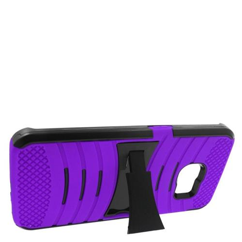 Insten Wave Hybrid Stand Rubber Silicone/PC Case For Samsung Galaxy S6 Edge, Purple/Black