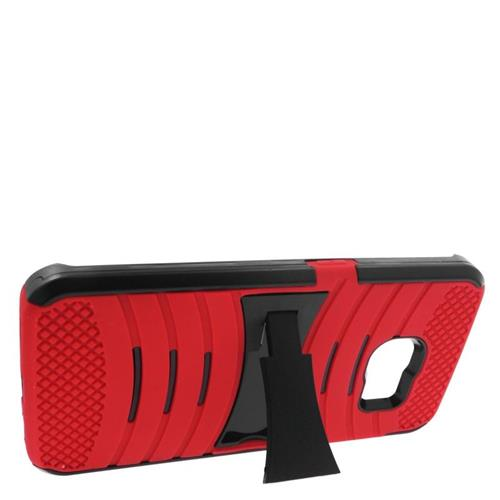 Insten Wave Hybrid Stand Rubber Silicone/PC Case For Samsung Galaxy S6 Edge, Red/Black