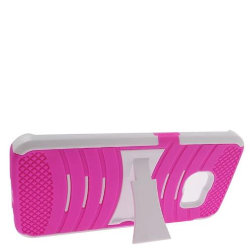 Insten Wave Hybrid Stand Rubber Silicone/PC Case For Samsung Galaxy S6 Edge, Hot Pink/White