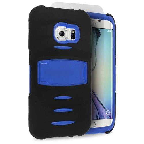 Insten Hybrid Stand Silicone/PC Case w/Screen Protector For Samsung Galaxy S6 Edge, Black/Blue