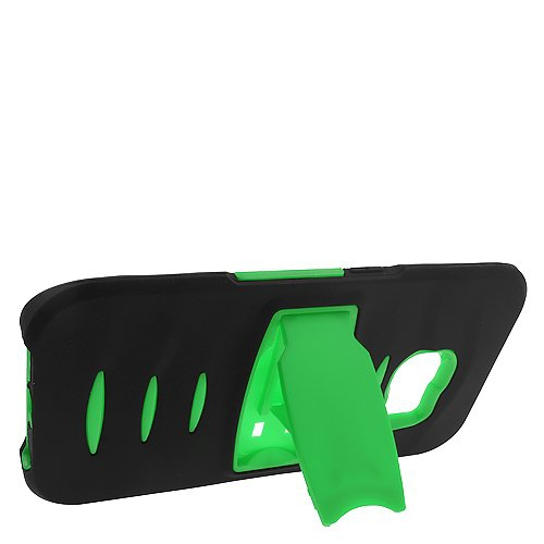 Insten Hybrid Stand Silicone/PC Case w/Screen Protector For Samsung Galaxy S6 Edge, Black/Green