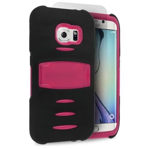 Insten Hybrid Stand Silicone/PC Case w/Screen Protector For Samsung Galaxy S6 Edge, Black/Hot Pink