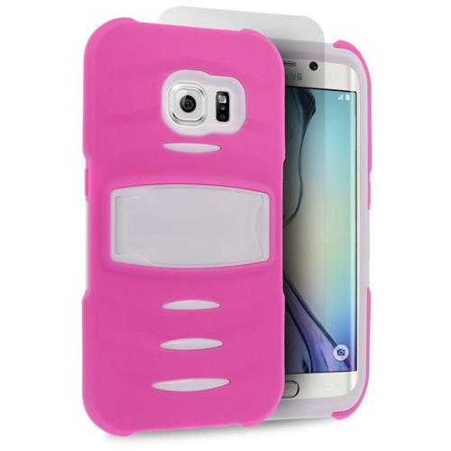 Insten Hybrid Stand Silicone/PC Case w/Screen Protector For Samsung Galaxy S6 Edge, Hot Pink/White