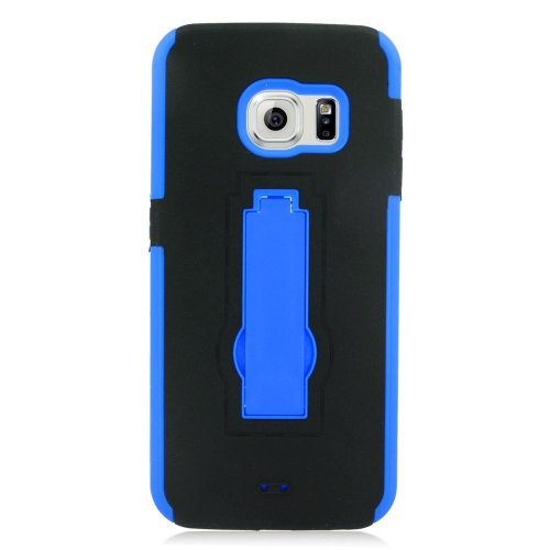 Insten Hybrid Stand Rubber Silicone/PC Case For Samsung Galaxy S6 Edge, Black/Blue