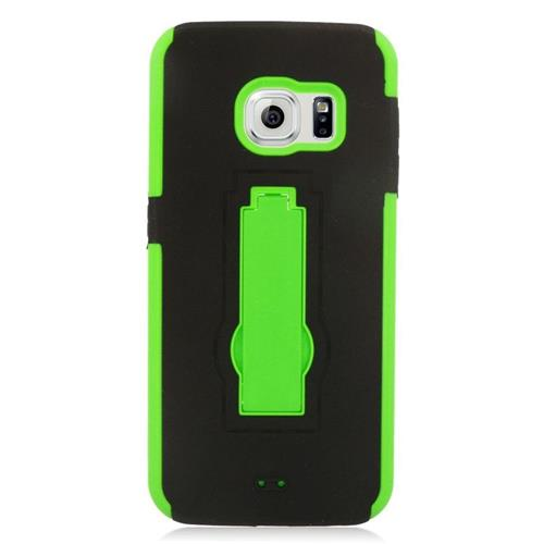 Insten Hybrid Stand Rubber Silicone/PC Case For Samsung Galaxy S6 Edge, Black/Green