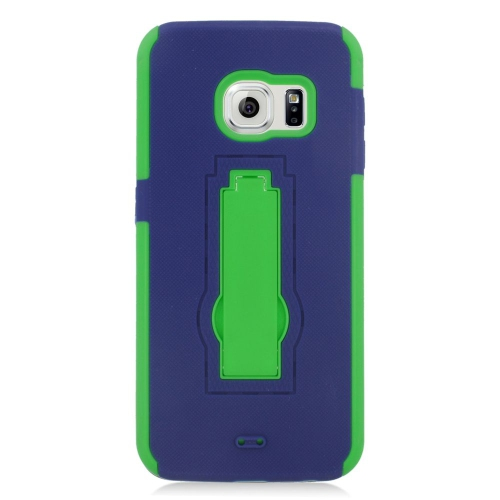 Insten Hybrid Stand Rubber Silicone/PC Case For Samsung Galaxy S6 Edge, Blue/Green