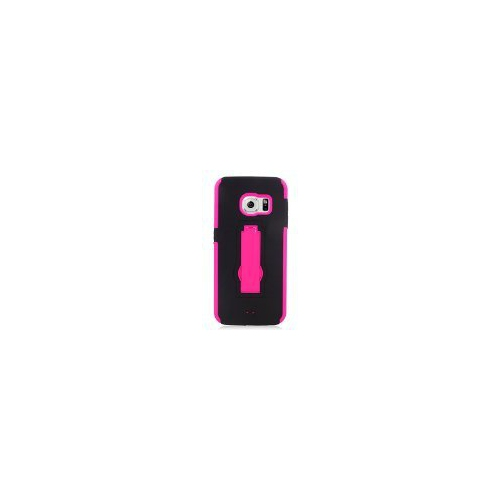 Insten Hybrid Stand Rubber Silicone/PC Case For Samsung Galaxy S6 Edge, Black/Hot Pink