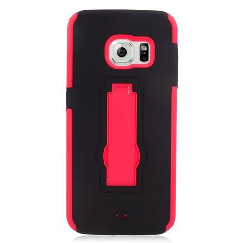 Insten Hybrid Stand Rubber Silicone/PC Case For Samsung Galaxy S6 Edge, Black/Red