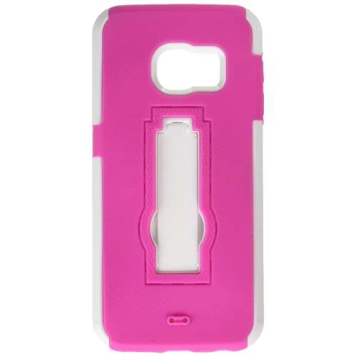 Insten Fitted Soft Shell Case for Samsung Galaxy S6 Edge - Hot Pink;White
