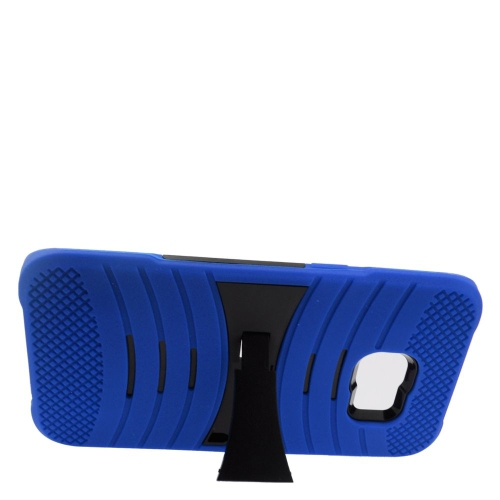 Insten Wave Hybrid Stand Rubber Silicone/PC Case For Samsung Galaxy S6 Edge Plus, Blue/Black