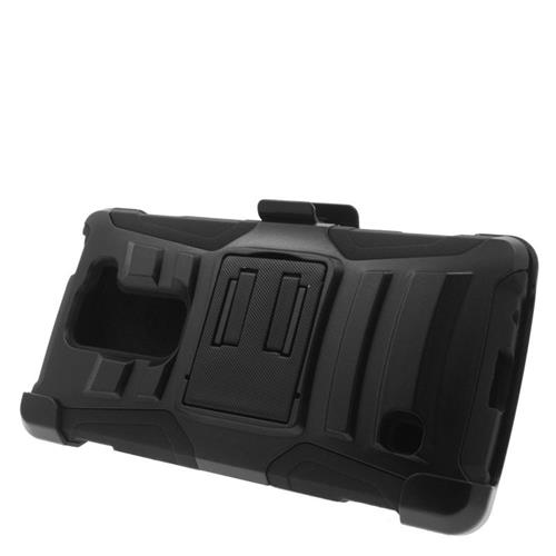 Insten Hybrid Stand PC/Silicone Holster Case For LG Escape 2 H443 / H445, Black