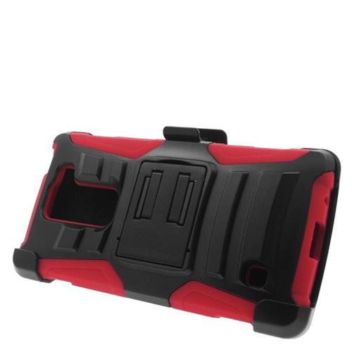 Insten Hybrid Stand PC/Silicone Holster Case For LG Escape 2 H443 / H445, Black/Red