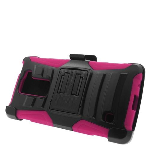 Insten Hybrid Stand PC/Silicone Holster Case For LG Escape 2 H443 / H445, Black/Hot Pink