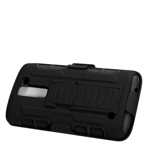 Insten Car Armor Hybrid Stand PC/Silicone Holster Case For LG K7 Tribute 5, Black