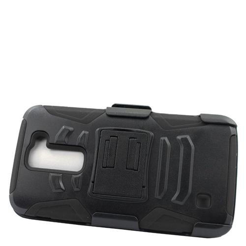Insten Dual Layer Hybrid Stand PC/Silicone Holster Case Cover Compatible With LG K7 Tribute 5, Black