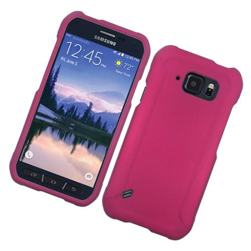 Insten Rubberized Hard Snap-in Case Cover Compatible With Samsung Galaxy S6 Active, Hot Pink