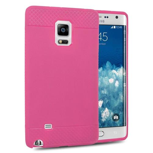 Insten TPU Rubber Candy Skin Case Cover Compatible With Samsung Galaxy Note Edge, Hot Pink