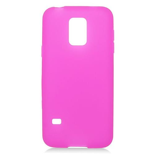 Insten TPU Rubber Candy Skin Case Cover Compatible With Samsung Galaxy S5 Mini SM-G800H, Hot Pink