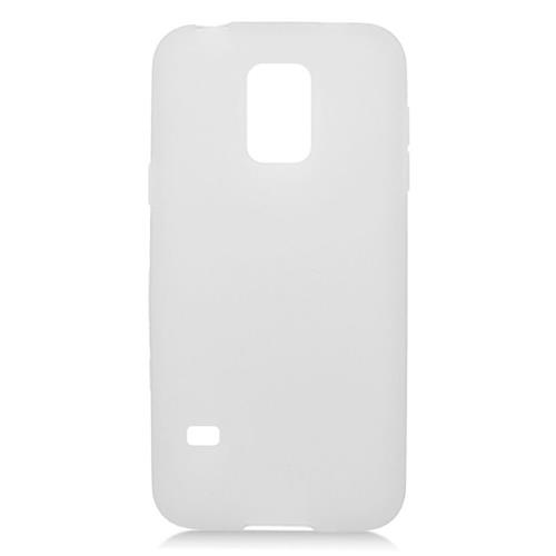 Insten TPU Rubber Candy Skin Case Cover Compatible With Samsung Galaxy S5 Mini SM-G800H, White