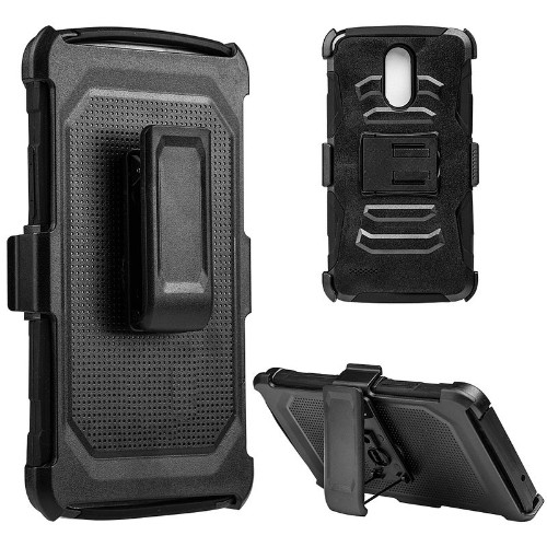 Insten Mesh Hybrid Stand PC/TPU Rubber Holster Case For LG Stylo 3, Black