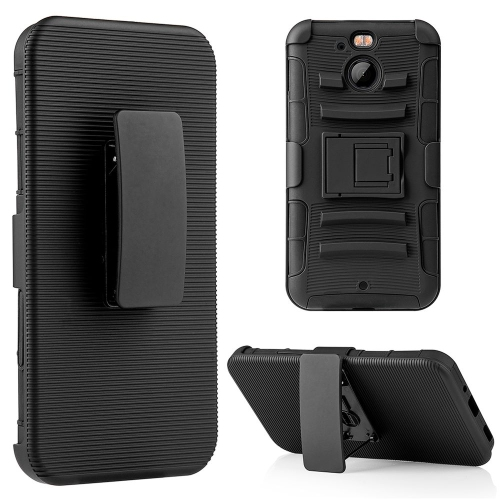 Insten Dual Layer Hybrid Stand PC/TPU Rubber Holster Case Cover Compatible With HTC Bolt, Black